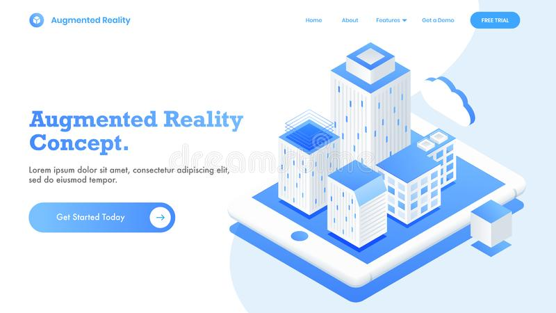 Isometric view for responsive landing page design with futuristic smart city concept. Isometric view for responsive landing page design with futuristic smart vector illustration