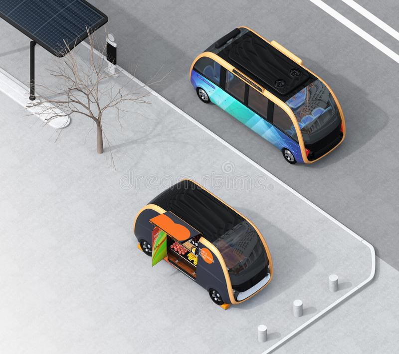 Isometric view of self-driving bus passing vending car on the street. The car is equipped with shelf for selling grocery. Mobile convenience store concept. 3D vector illustration