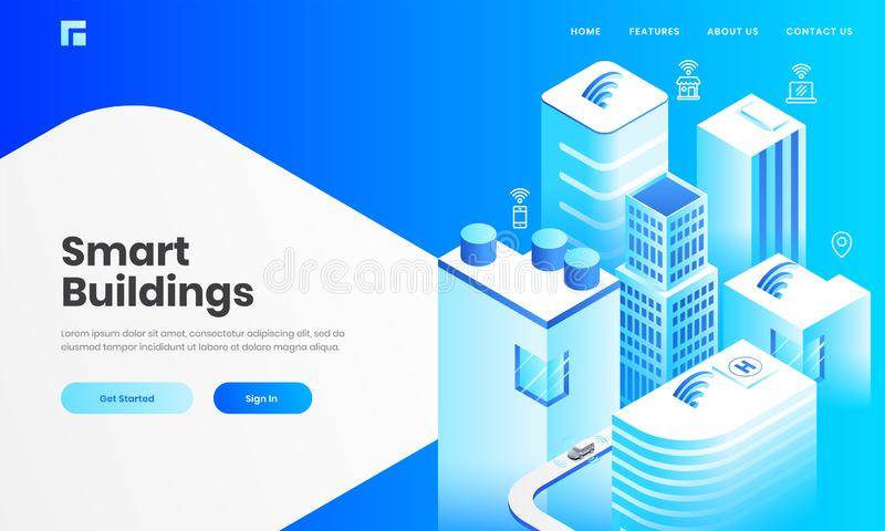 Isometric view of skyscraper buildings with technology devices through internet network for Smart Building concept. Isometric view of skyscraper buildings with royalty free illustration