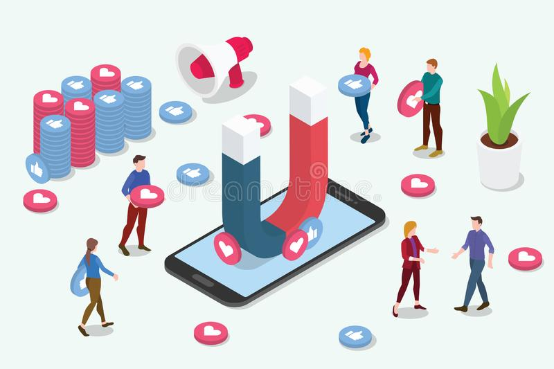 Isometric viral content social media marketing team people with magnet to attract tractions followers with like and share - vector vector illustration