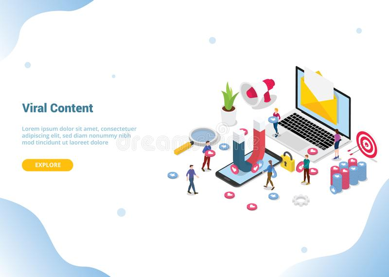 Isometric viral content social media marketing web or website template landing homepage banner - vector royalty free illustration