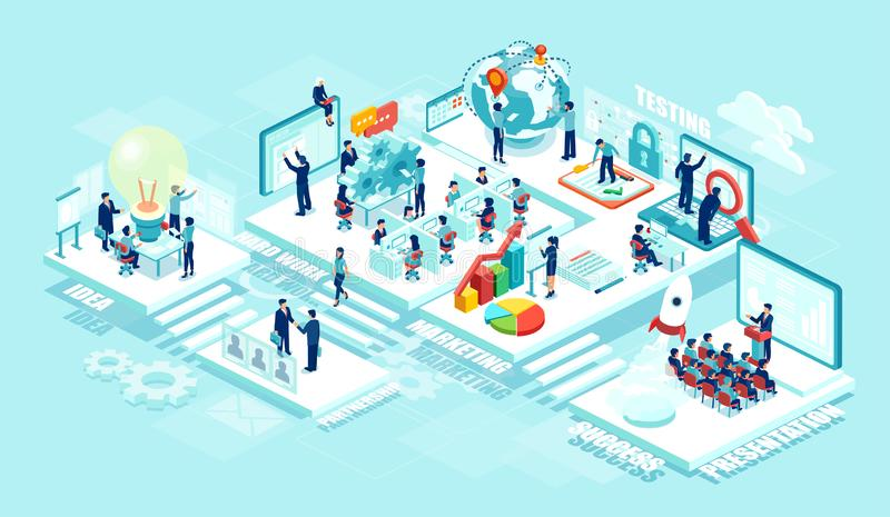 Isometric of virtual office with businesspeople, corporate employees working together on a new startup using mobile devices. Business management, education stock illustration