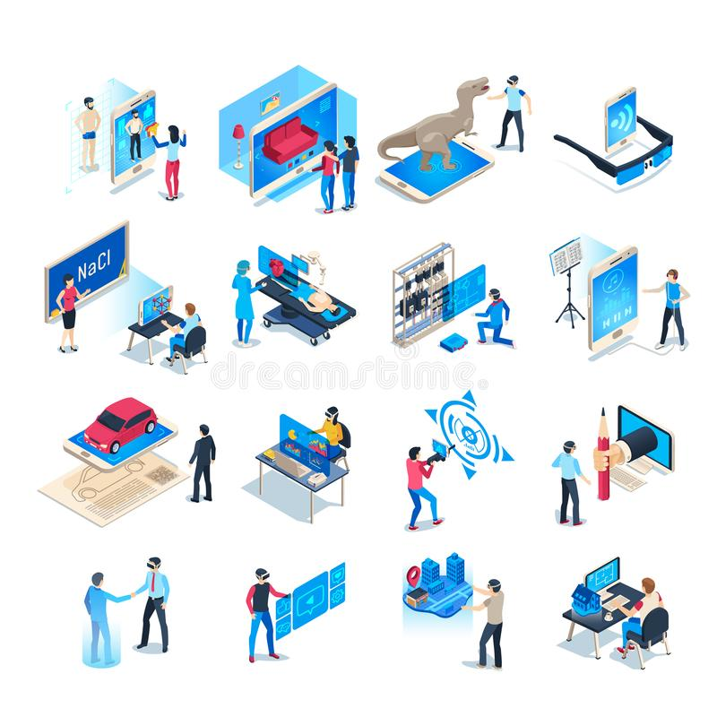 Isometric virtual reality simulations icons. Computer simulation helmet, augmented reality game vector illustration set vector illustration