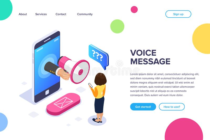 Isometric voice message concept. Megaphone in hand. A woman listens to a voice message on the phone. Email button. Can. Use for web banner, infographics, hero stock illustration