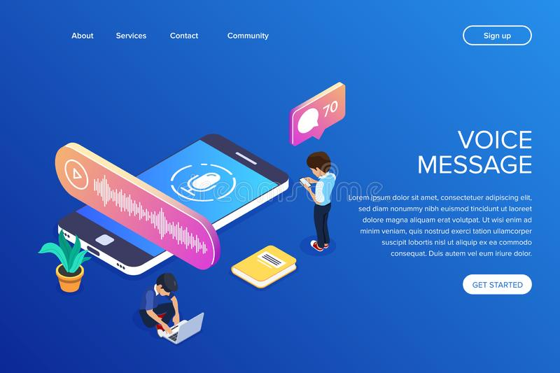 Isometric voice message concept. People listen to audio messages using a mobile phone or laptop. Can use for web banner. Infographics, hero images royalty free illustration