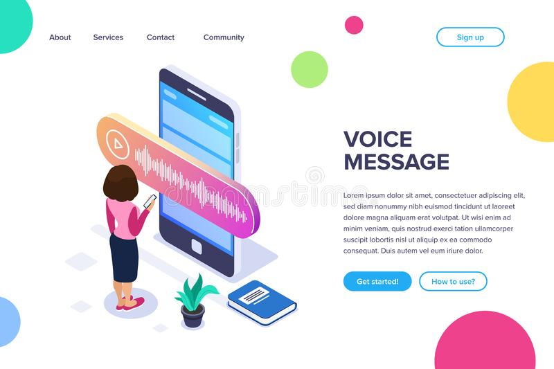 Isometric voice message concept. Person records or listens to a voice message using a large phone. Books and plant as. Background. Can use for web banner royalty free illustration