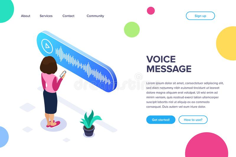 Isometric voice message concept. Woman listens to a voice message received on a mobile phone. The use of modern. Technology. Can use for web banner royalty free illustration