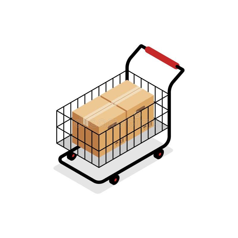 Isometric wózek na zakupy z pudełkami royalty ilustracja