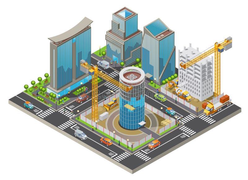 Isometric W Budowie miasta pojęcie ilustracja wektor