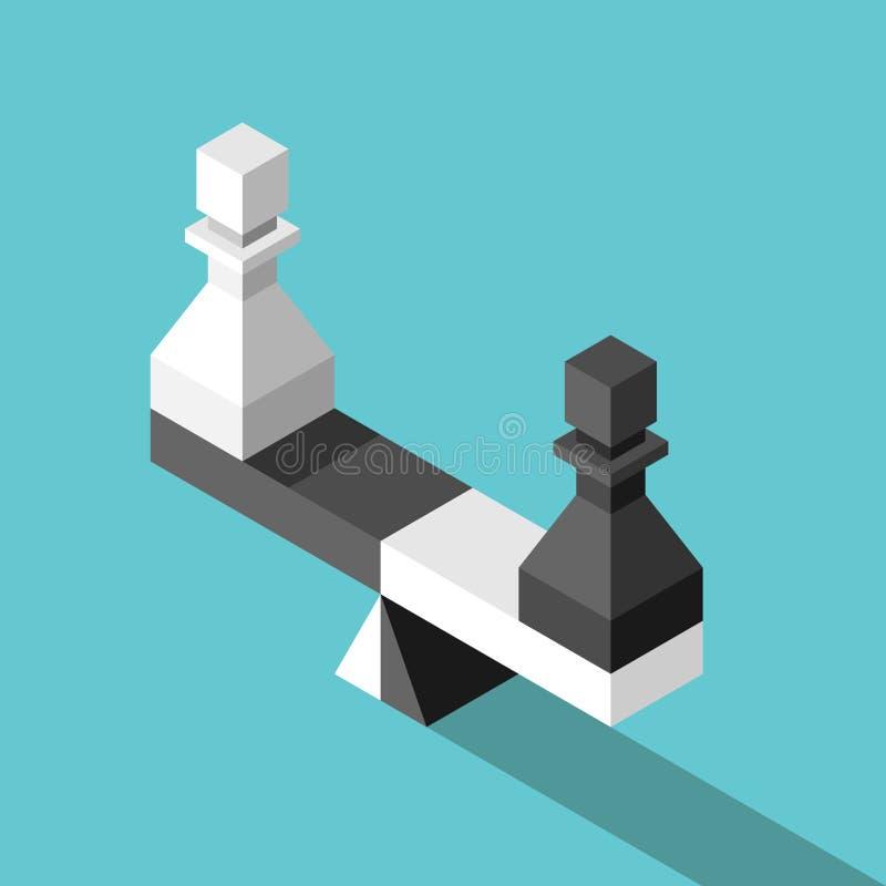 Isometric waży ważyć pionków ilustracja wektor