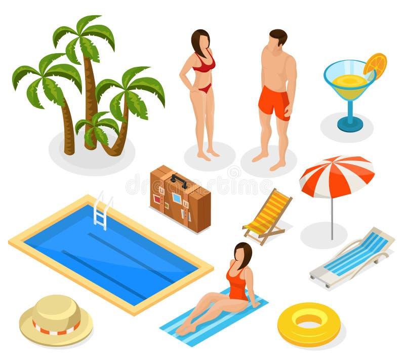 Isometric wakacji elementy Ustawiający ilustracji