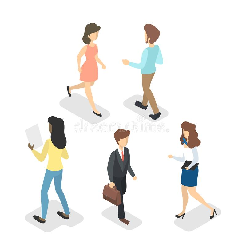 Isometric walking people set. Collection of character royalty free illustration