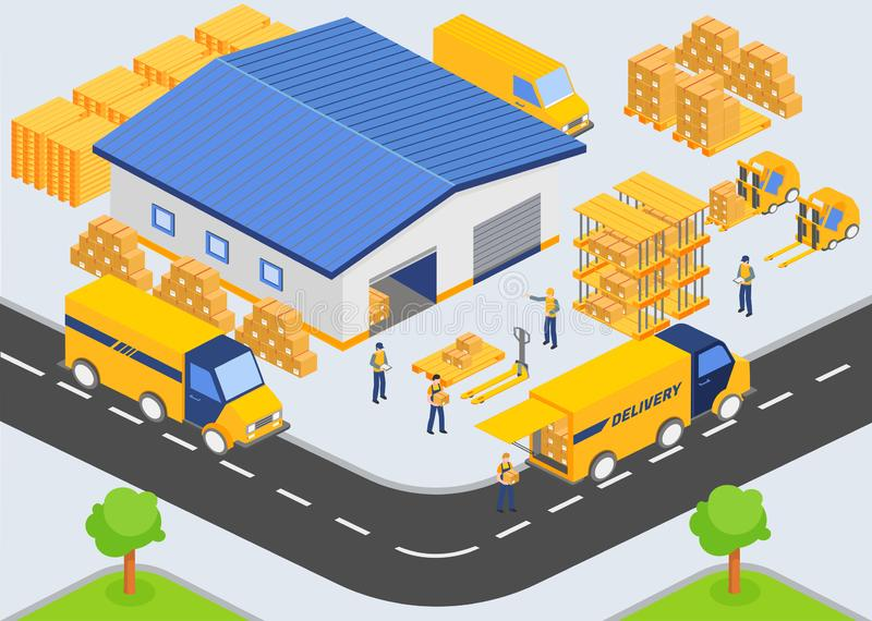 Isometric warehouse company. Loading and unloading process from warehouse. Storage building, trucks, people workers vector illustration