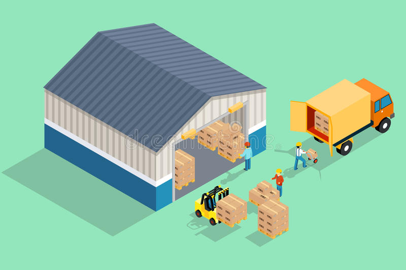 Isometric warehouse. Loading and unloading from vector illustration