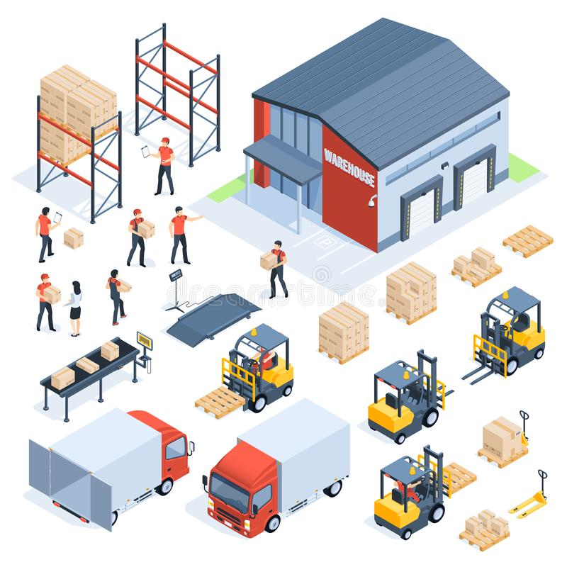Isometric warehouse logistic. Cargo transport industry, wholesale distribution logistics and distributed pallets 3d royalty free illustration