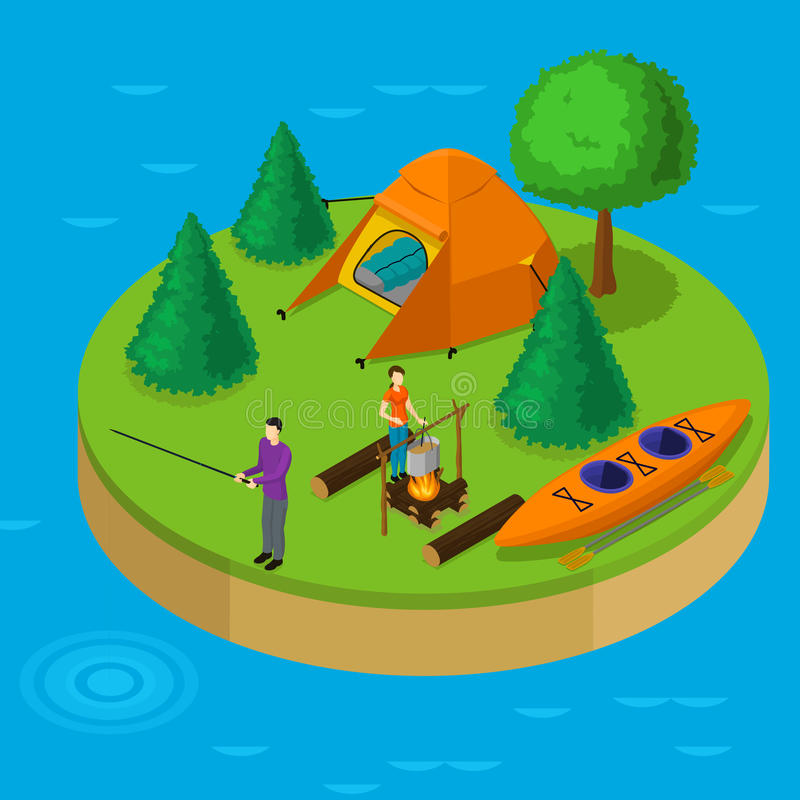 Isometric Water Active Recreation Concept. With fishing man cooking woman boat tent trees on island vector illustration vector illustration