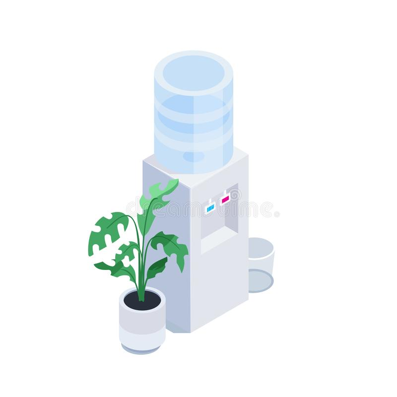Isometric water cooler. 3d icon office water cooler with bottle, plant and trash can isolated on white background. Vector illustration vector illustration