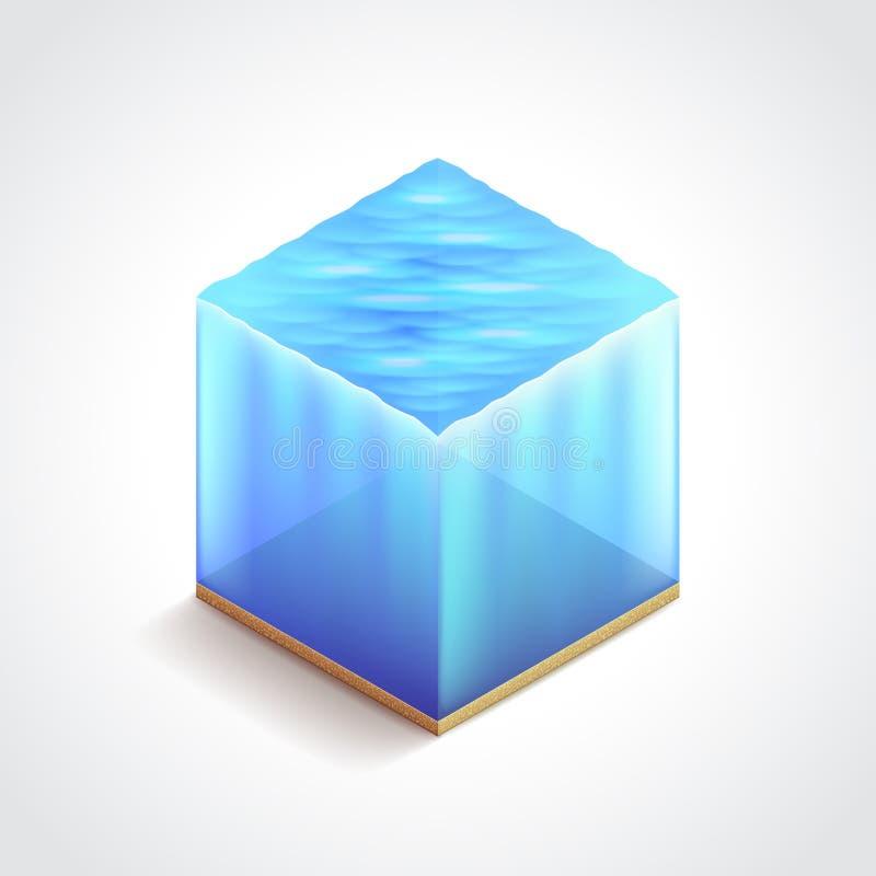 Isometric water cube vector illustration vector illustration