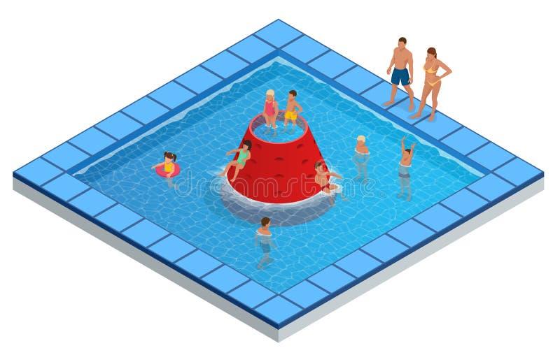 Isometric Water Park, Aquapark, Children s Slides vector illustration.  stock illustration