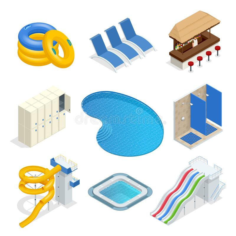 Isometric water park attractions vector icon set with inflatable swimming circles, sun beds, locker room, lockers, pool. Bar, shower, slide. Aqua park flat stock illustration