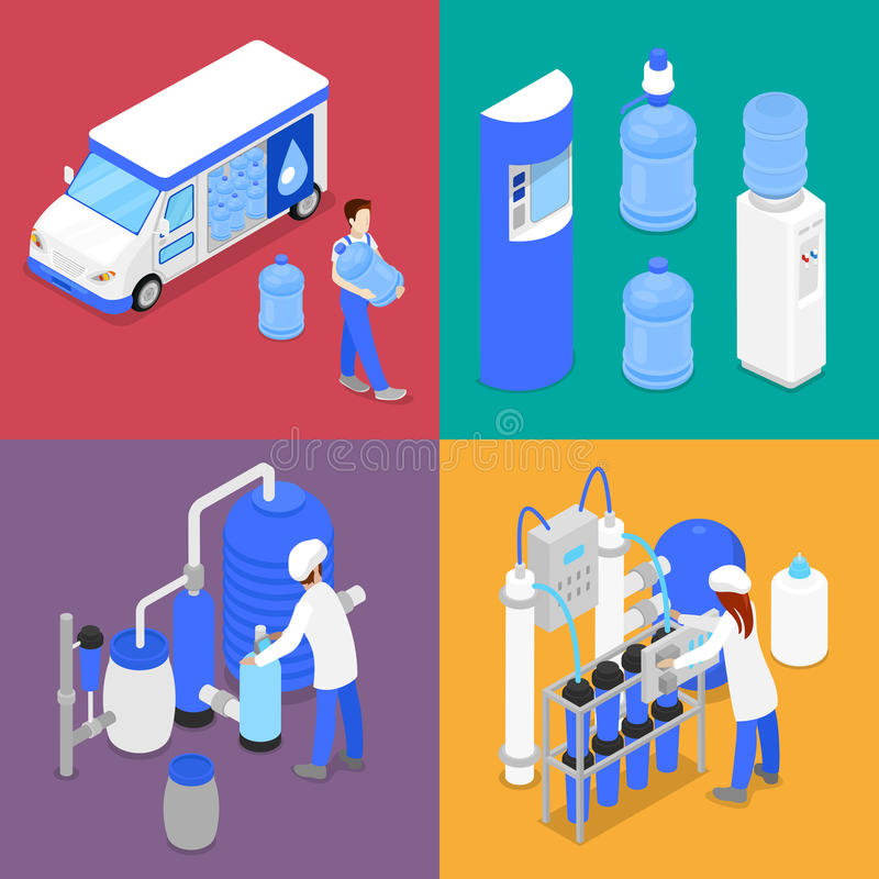 Isometric Water Purification Factory. Courier with Bottle of Clean Water. Vector flat 3d illustration stock illustration