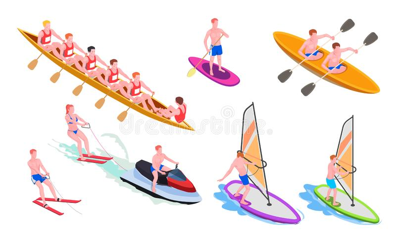 Isometric Water Sports Icon Set. Isolated and isometric water sports icon set with diving windsurfing canoeing rowing snorkeling vector illustration stock illustration