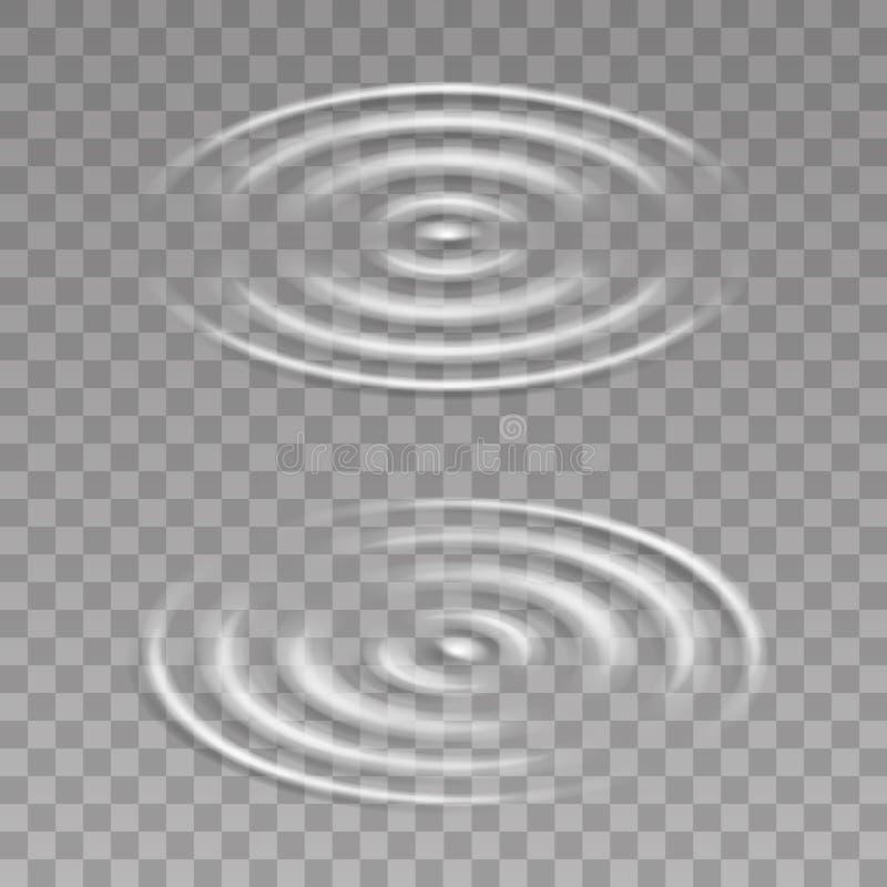 Isometric water surface splash ripple waves decoration transparent background vector illustration. Isometric water surface splash ripple waves decoration royalty free illustration