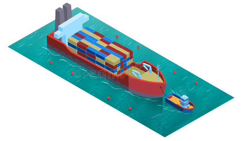 Isometric Water Cargo Composition. Isometric water transport composition with square platform water surface trawler boat and barge loaded with cargo vector vector illustration