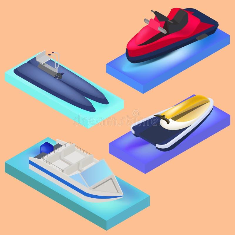 Isometric water transport, motor boat, water bike, jet ski. In vector royalty free illustration