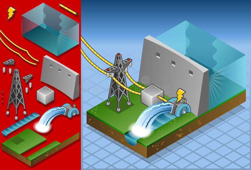 Isometric watermill in production of energy stock illustration
