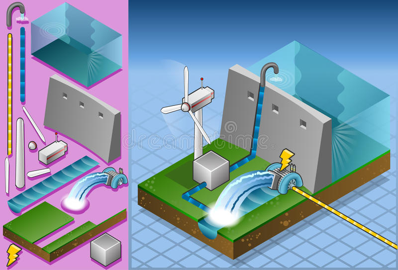 Isometric watermill and wind turbine royalty free illustration