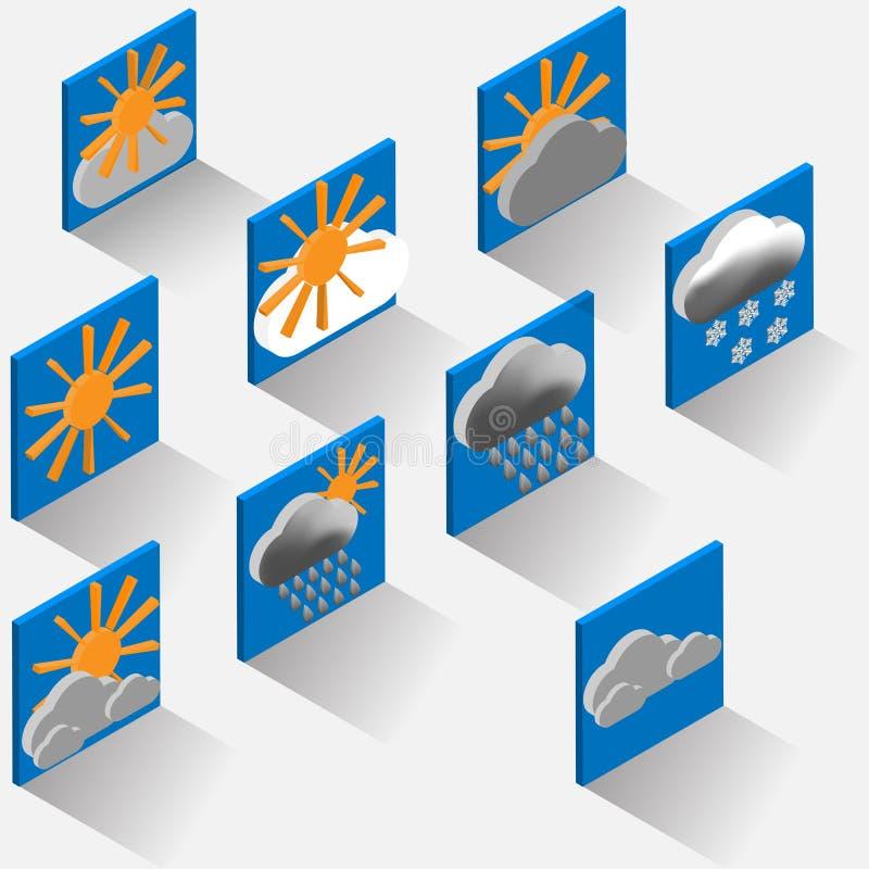 Isometric weather symbols. vector illustration