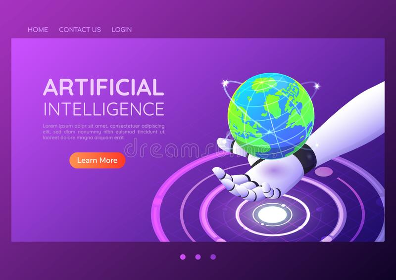 Isometric web banner ai robotic hand holding virtual digital world royalty free illustration