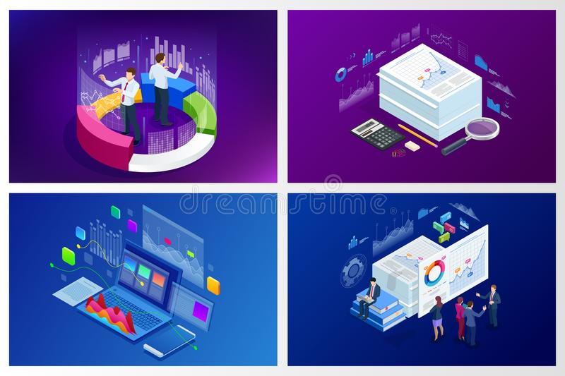 Isometric web banner Data Analisis and Statistics concept. Vector illustration business analytics, Data visualization. Technology, Internet and network concept royalty free illustration