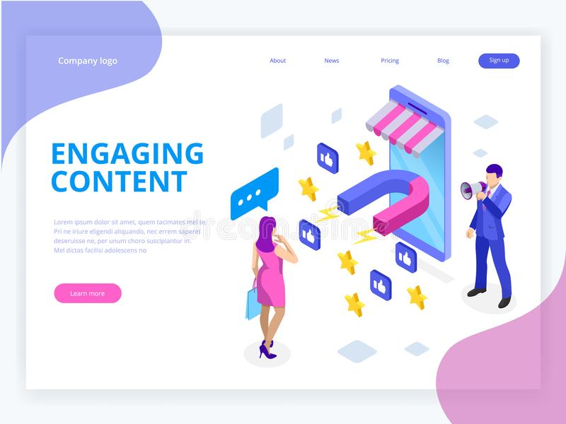 Isometric web banner with Engaging Content, Content Marketing Success, Marketing Mix. Social influencer. Social media vector illustration