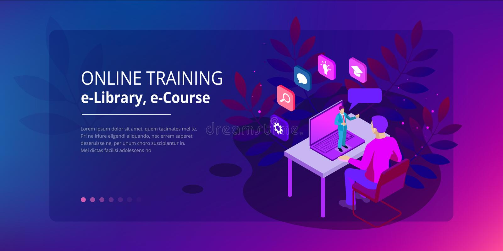 Isometric web banner online training or education and Internet training courses concept. Landing page template. Modern. Ultraviolet design for a web page royalty free illustration