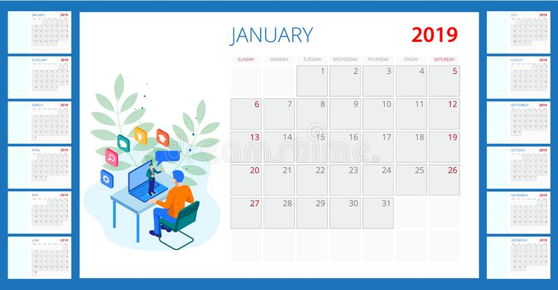 Isometric web banner online training or education and Internet training courses concept. 2019 calendar template. Isometric web banner online training or royalty free illustration