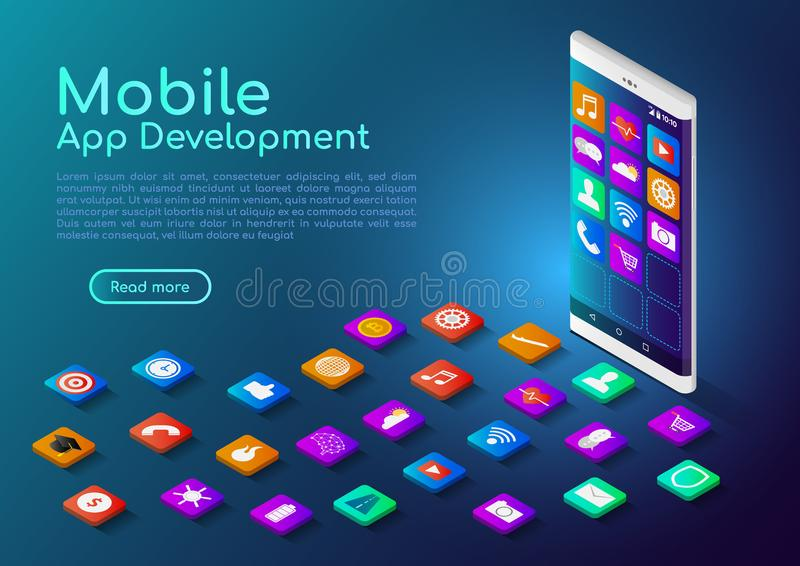 Isometric web banner smartphone with mobile app icon stock illustration