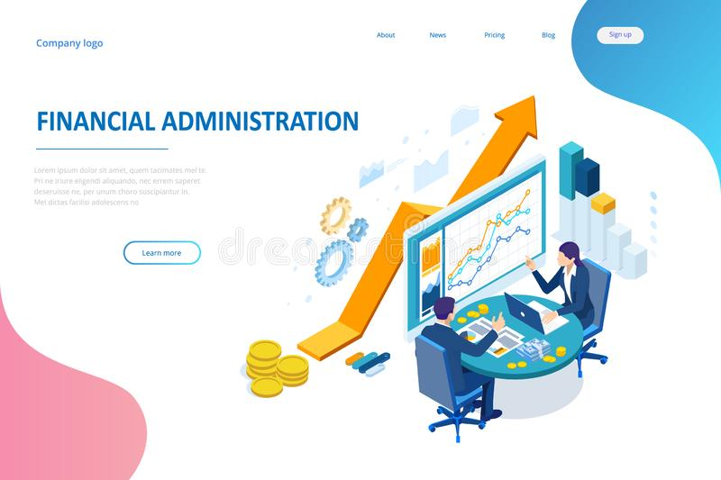 Isometric web business concept of financial administration, accounting, analysis, audit, financial report. Auditing tax royalty free illustration
