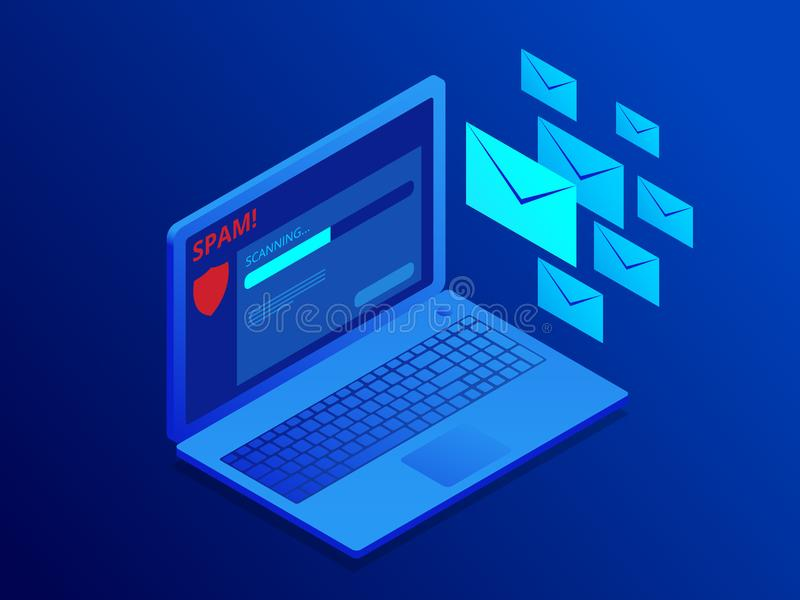 Isometric website banner of e-mail protection, anti-malware software. Email Spamming Attack. Antivirus software, anti. Malware, spyware, trojan, adware as vector illustration