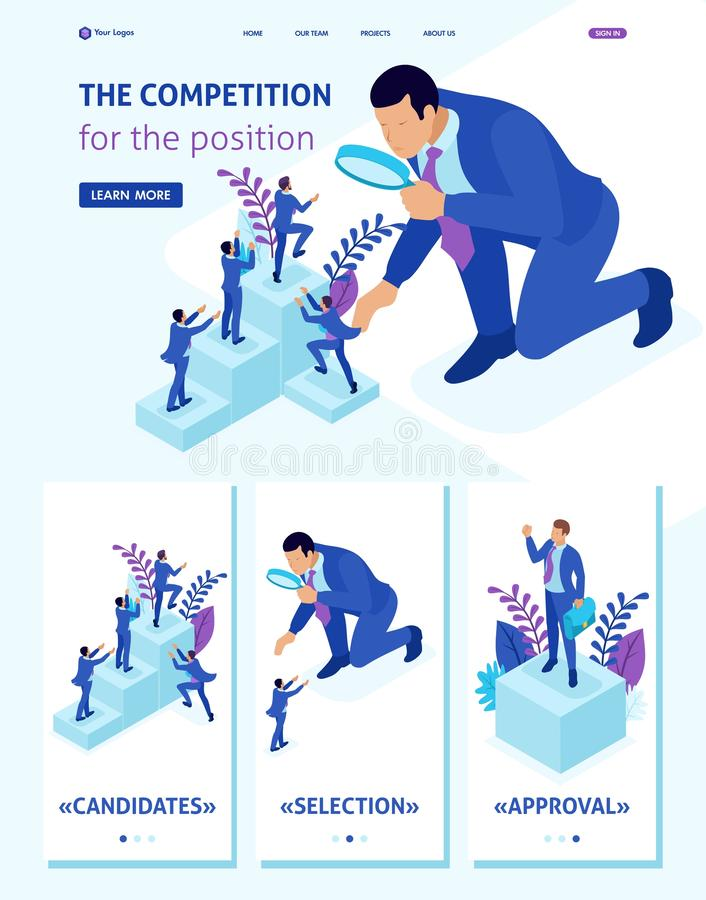 Isometric Website Template Landing page competitive struggle for career growth, businessman looks at candidates through a vector illustration