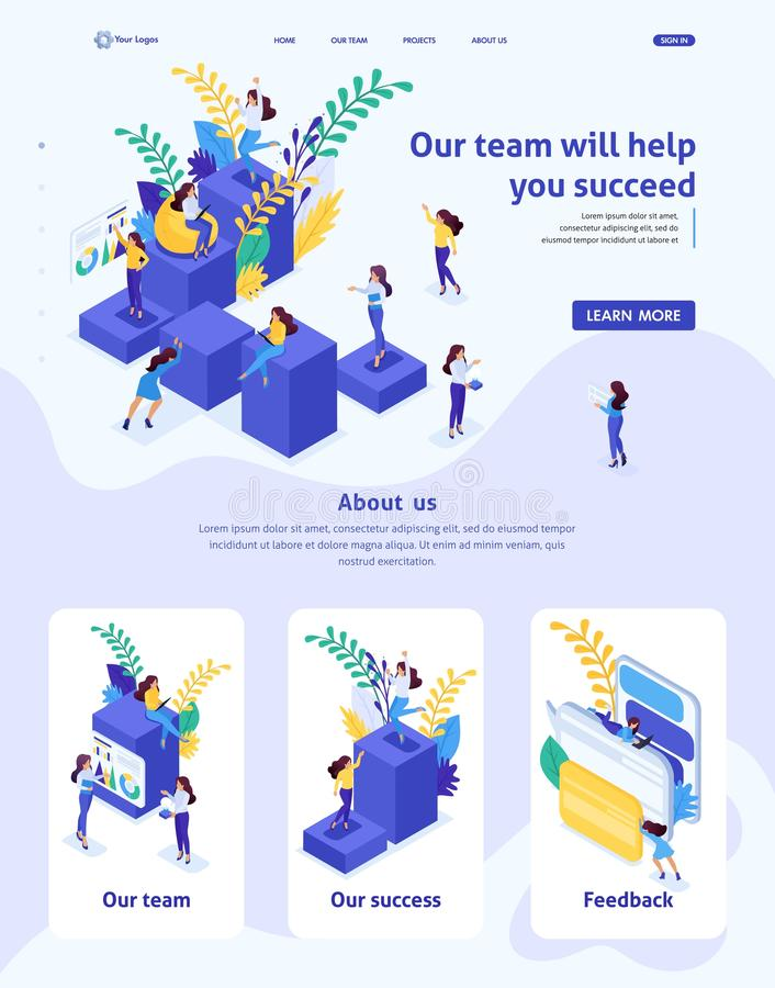 Isometric Website Template Landing page concept concept career ladder for women, success in big business. Business lady succeeds. Adaptive 3D royalty free illustration