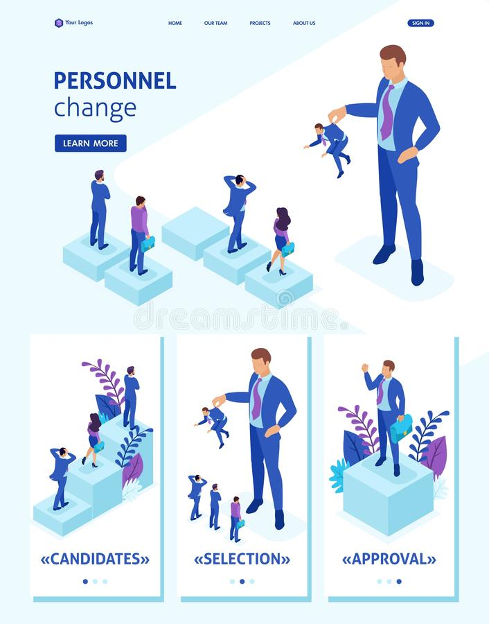 Isometric Website Template Landing page personnel change, the big boss keeps the employee the rest are afraid. Adaptive 3D royalty free illustration