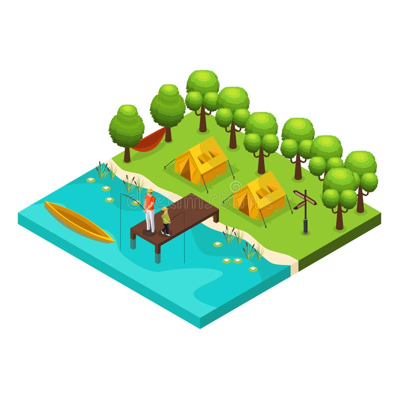 Isometric Weekend Recreation Concept. With father and son fishing together on lake isolated vector illustration royalty free illustration