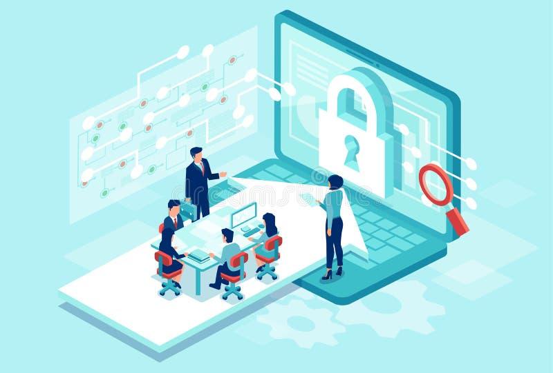Isometric wektor drużynowy działanie projektuje nowego oprogramowanie ochraniać osobistych dane ilustracji
