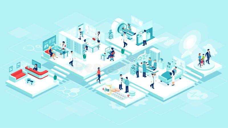 Isometric wektor medycznej kliniki inpatient szpitalna opieka z pokojami, pacjentami, lekarkami i pielęgniarkami, ilustracji