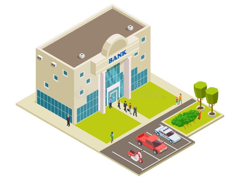 Isometric wektorowa bank lokacja z ludźmi, samochodami i ochroną, royalty ilustracja
