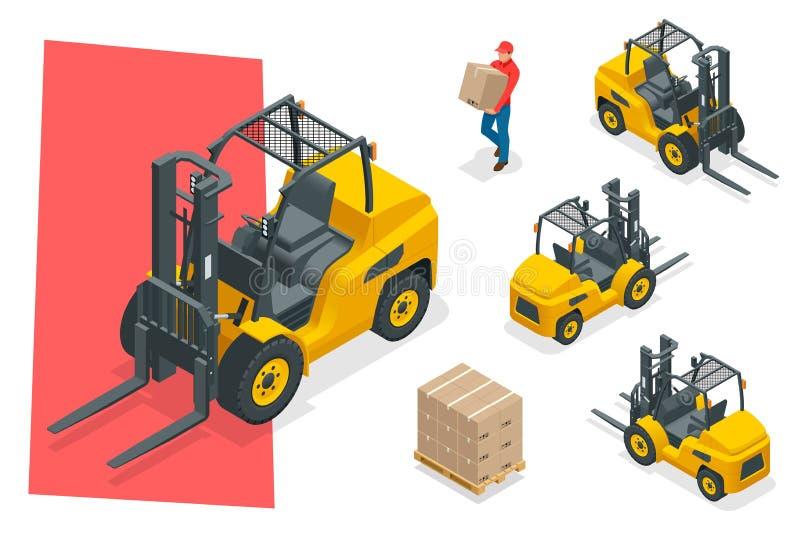 Isometric wektorowa forklift ciężarówka odizolowywająca na bielu Składowy wyposażenie ikony set Forklifts w różnorodnych kombinac ilustracji