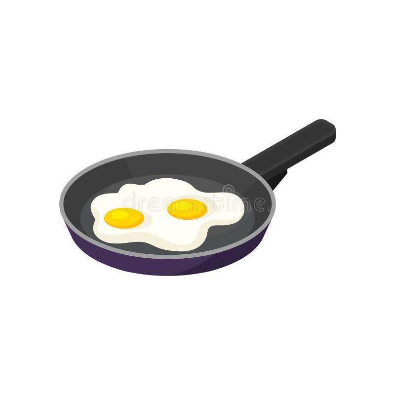 Isometric wektorowa ikona niecka z smażącymi jajkami Smakowity ranku posiłek Apetyczny naczynie dla śniadaniowego jedzenia tematu ilustracja wektor
