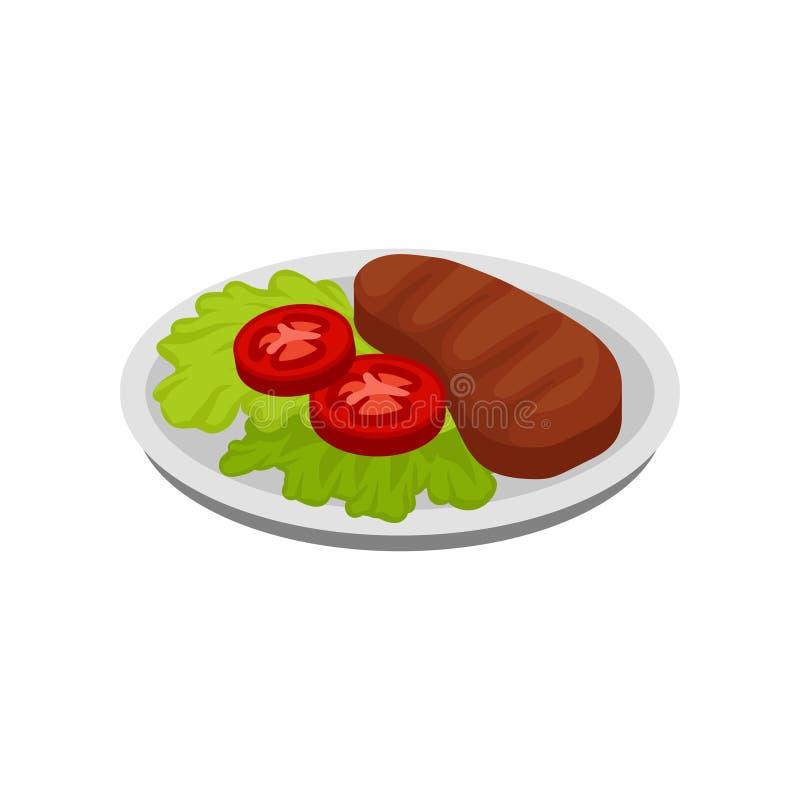 Isometric wektorowa ikona talerz z sałatą opuszcza, pomidorów plasterki i piec na grillu mięsny stek Smakowity jedzenie dla gości ilustracji